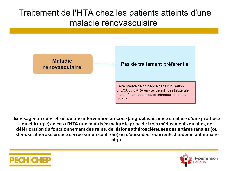 Traitement de l'HTA chez les patients atteints d'une maladie rénovasculaire Envisager un suivi étroit ou une intervention précoce (angioplastie, mise