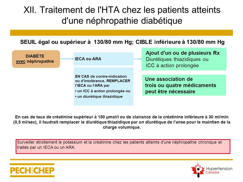 XII. Traitement de l'HTA chez les patients atteints d'une néphropathie diabétique En cas de taux de créatinine supérieur à 150 µmol/l ou de clairance
