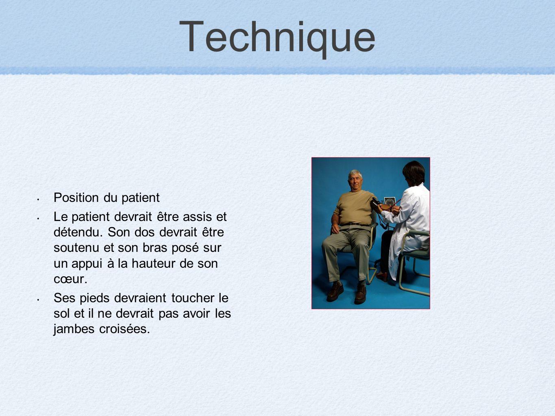 Technique Position du patient Le patient devrait être assis et détendu. Son dos devrait être soutenu et son bras posé sur un appui à la hauteur de son