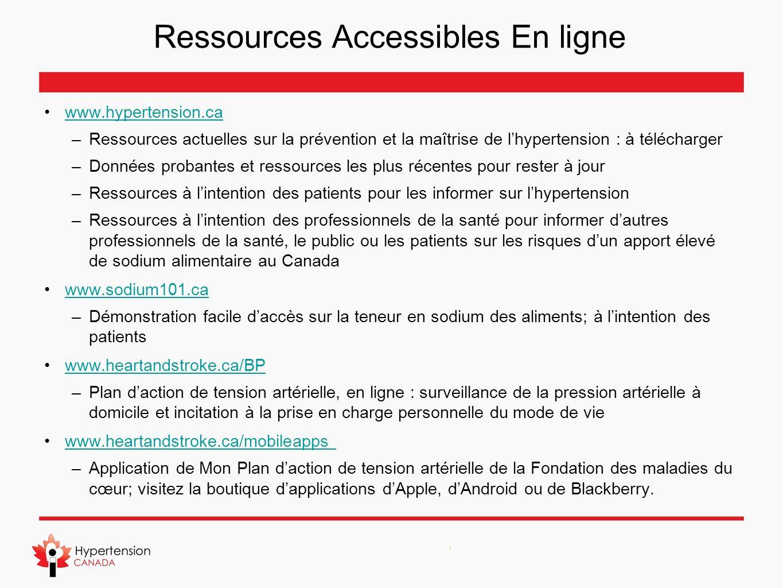 Ressources Accessibles En ligne www.hypertension.ca –Ressources actuelles sur la prévention et la maîtrise de lhypertension : à télécharger –Données p