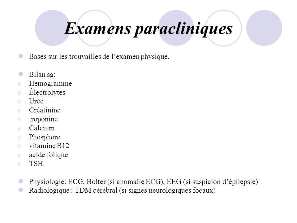 Examens paracliniques Basés sur les trouvailles de lexamen physique. Bilan sg: oHemogramme oÉlectrolytes oUrée oCréatinine otroponine oCalcium oPhosph