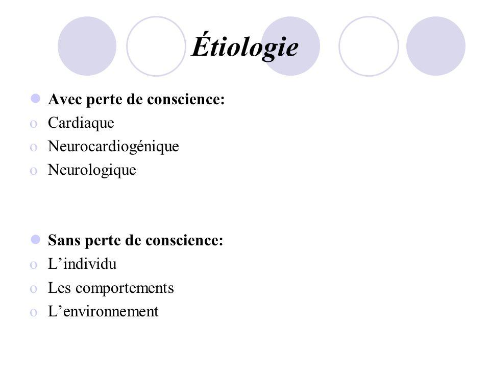 Étiologie Avec perte de conscience: oCardiaque oNeurocardiogénique oNeurologique Sans perte de conscience: oLindividu oLes comportements oLenvironneme