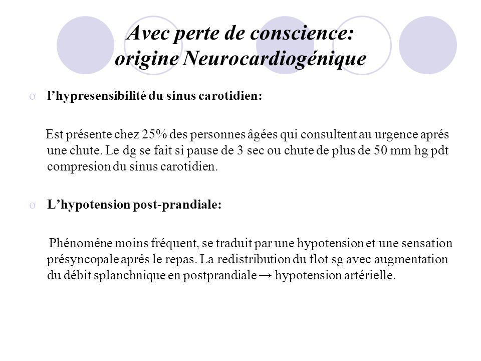 Avec perte de conscience: origine Neurocardiogénique olhypresensibilité du sinus carotidien: Est présente chez 25% des personnes âgées qui consultent