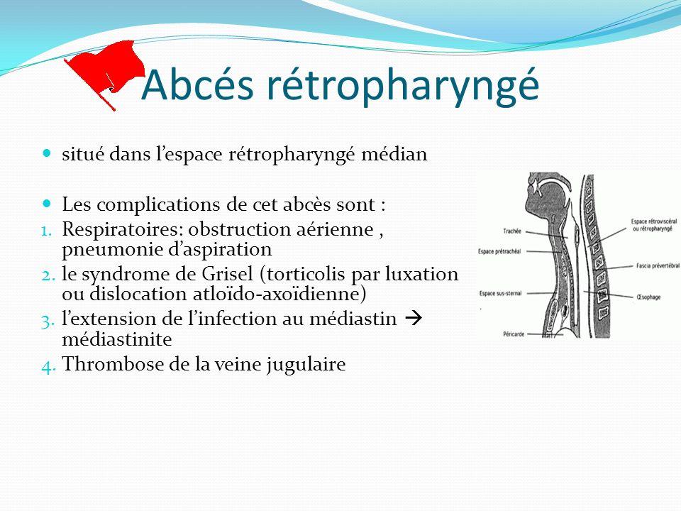 Symptomatologie varie selon lâge Symptômes chez les adultes Douleur à la gorge Fièvre Dysphagie Odynophagie Douleur cervicale Dyspnée Symptômes chez les enfants âgés 1 an Douleur à la gorge (84%) Fièvre(64%) Rigidité nuchale, torticolis (64%) Odynophagie (55%) Toux Symptômes chez les enfants < 1 an Fièvre (85%) Rigidité nuchale, torticolis (97%) Diminution de lapport alimentaire (55%) Rhinorrhée (55%) Léthargie (38%) Toux (33%)