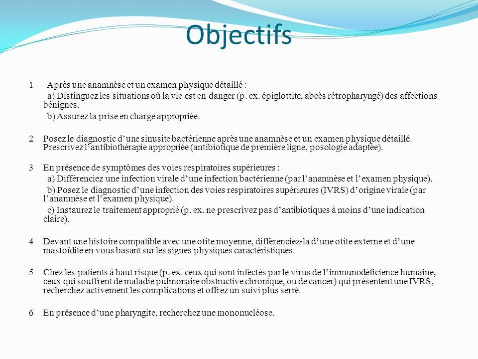 Objectifs 1 Après une anamnèse et un examen physique détaillé : a) Distinguez les situations où la vie est en danger (p. ex. épiglottite, abcès rétrop