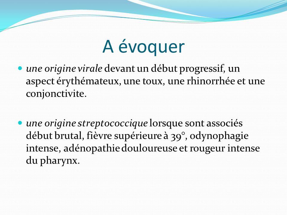 A évoquer une origine virale devant un début progressif, un aspect érythémateux, une toux, une rhinorrhée et une conjonctivite. une origine streptococ