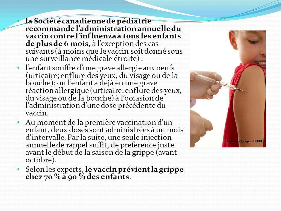 la Société canadienne de pédiatrie recommande ladministration annuelle du vaccin contre linfluenza à tous les enfants de plus de 6 mois, à lexception