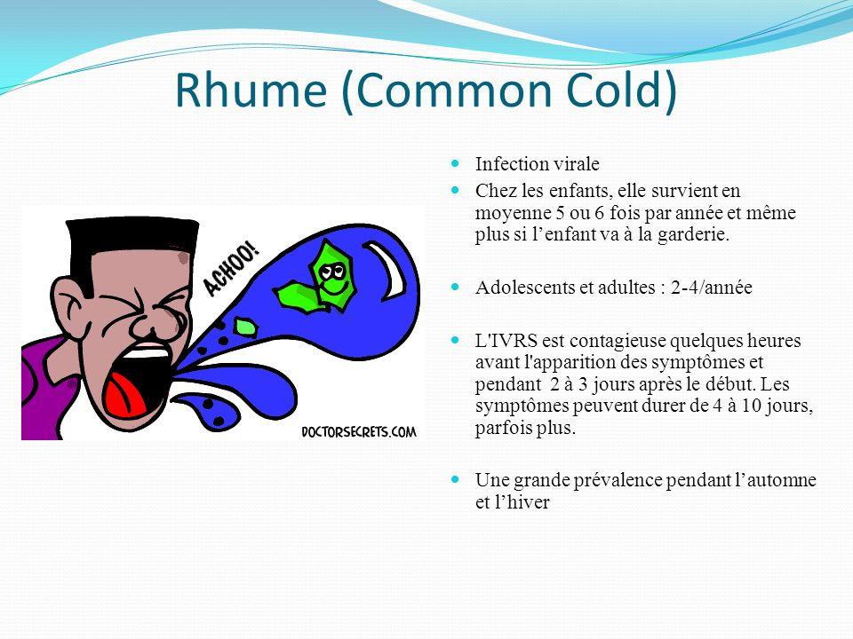 Rhume (Common Cold) Infection virale Chez les enfants, elle survient en moyenne 5 ou 6 fois par année et même plus si lenfant va à la garderie. Adoles