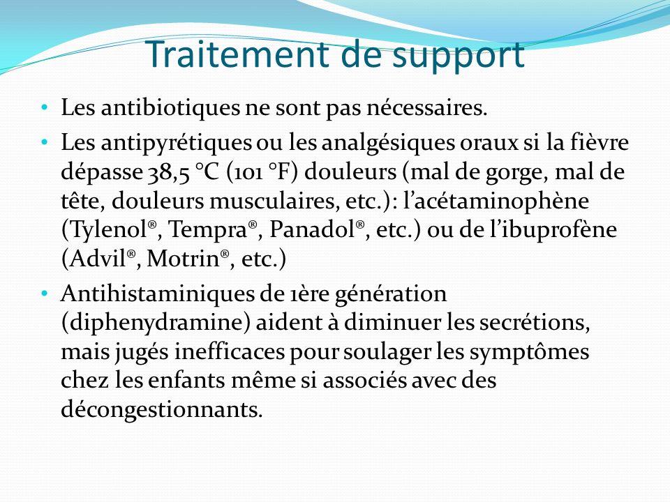 Traitement de support Les antibiotiques ne sont pas nécessaires. Les antipyrétiques ou les analgésiques oraux si la fièvre dépasse 38,5 °C (101 °F) do