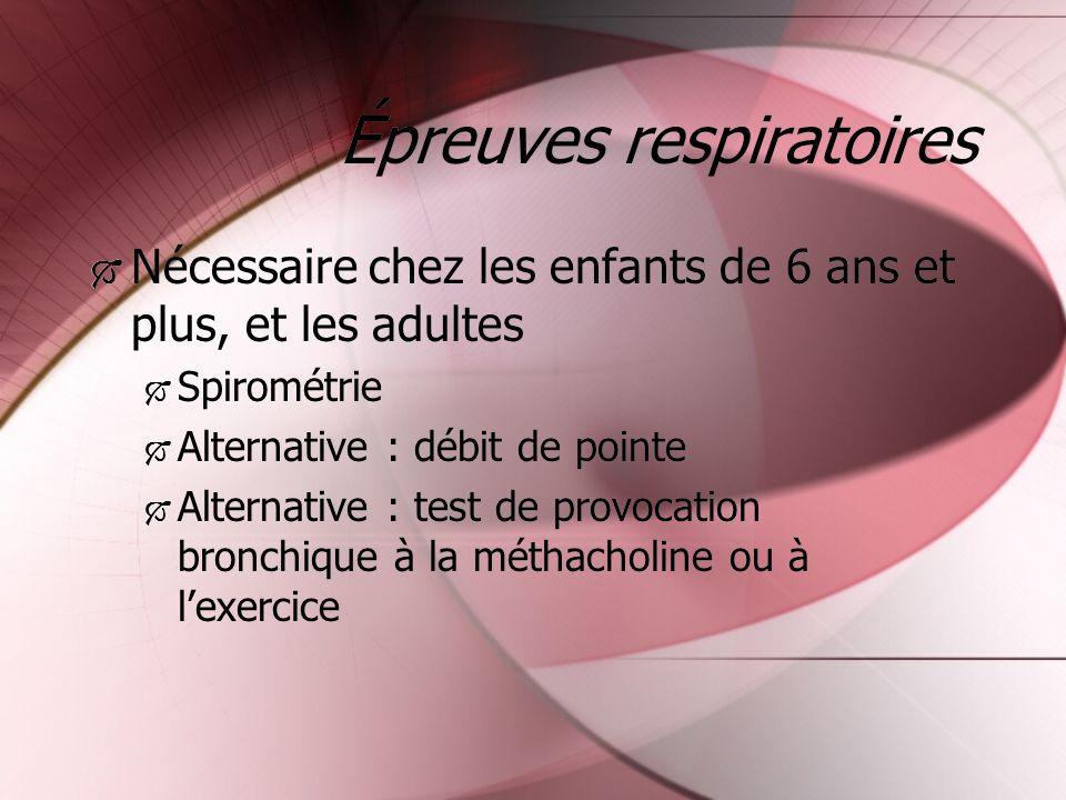 Épreuves respiratoires Nécessaire chez les enfants de 6 ans et plus, et les adultes Spirométrie Alternative : débit de pointe Alternative : test de pr
