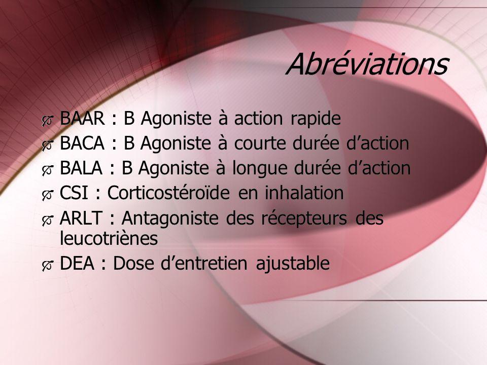 Abréviations BAAR : B Agoniste à action rapide BACA : B Agoniste à courte durée daction BALA : B Agoniste à longue durée daction CSI : Corticostéroïde