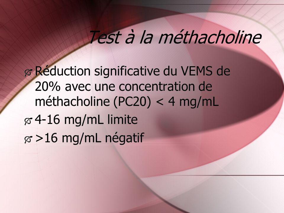 Test à la méthacholine Réduction significative du VEMS de 20% avec une concentration de méthacholine (PC20) < 4 mg/mL 4-16 mg/mL limite >16 mg/mL néga