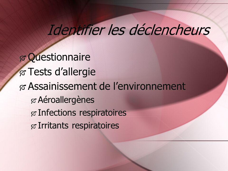 Identifier les déclencheurs Questionnaire Tests dallergie Assainissement de lenvironnement Aéroallergènes Infections respiratoires Irritants respirato