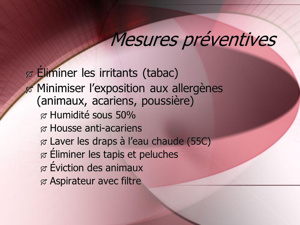 Mesures préventives Éliminer les irritants (tabac) Minimiser lexposition aux allergènes (animaux, acariens, poussière) Humidité sous 50% Housse anti-a