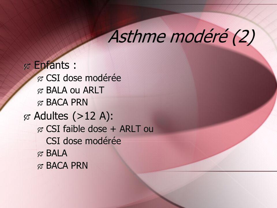 Asthme modéré (2) Enfants : CSI dose modérée BALA ou ARLT BACA PRN Adultes (>12 A): CSI faible dose + ARLT ou CSI dose modérée BALA BACA PRN Enfants :