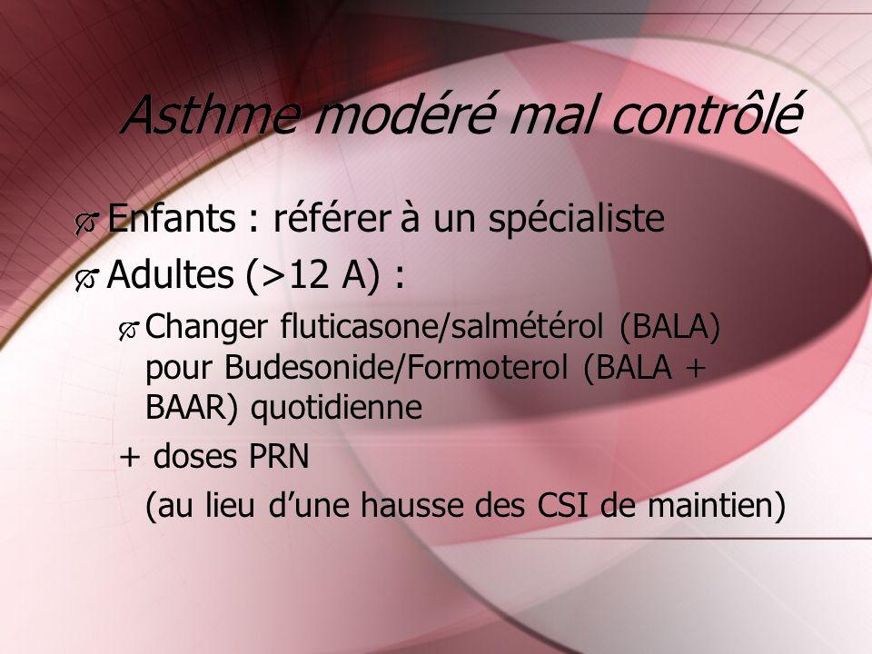 Asthme modéré mal contrôlé Enfants : référer à un spécialiste Adultes (>12 A) : Changer fluticasone/salmétérol (BALA) pour Budesonide/Formoterol (BALA