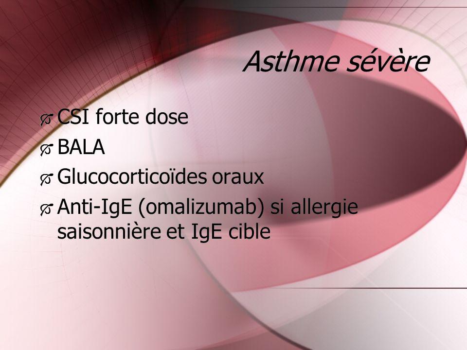 Asthme sévère CSI forte dose BALA Glucocorticoïdes oraux Anti-IgE (omalizumab) si allergie saisonnière et IgE cible CSI forte dose BALA Glucocorticoïd