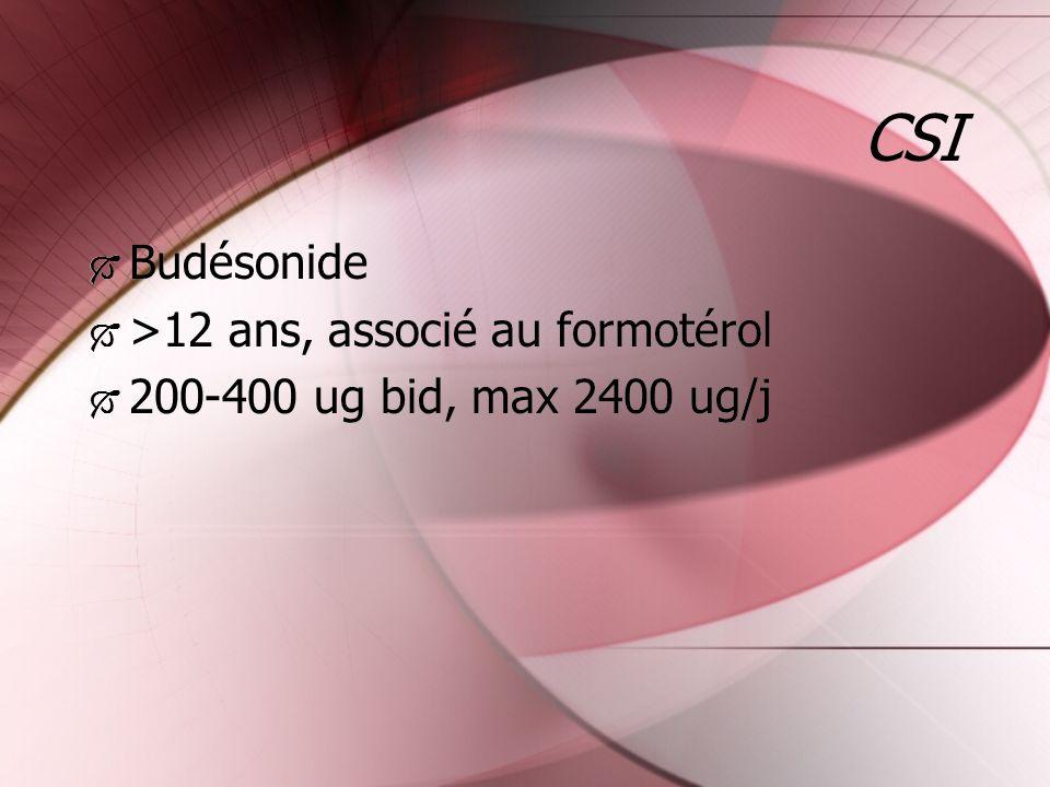 CSI Budésonide >12 ans, associé au formotérol 200-400 ug bid, max 2400 ug/j Budésonide >12 ans, associé au formotérol 200-400 ug bid, max 2400 ug/j