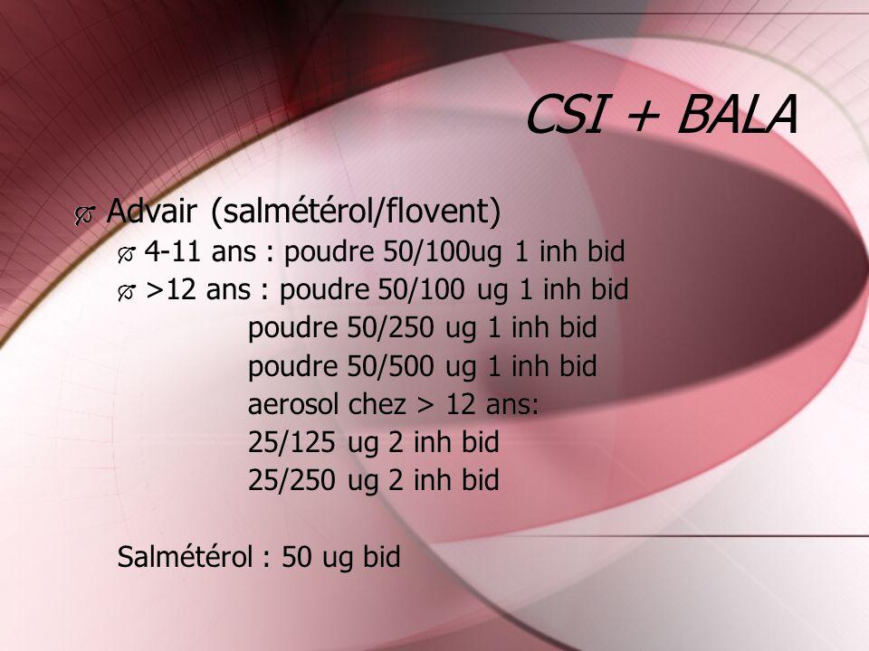 CSI + BALA Advair (salmétérol/flovent) 4-11 ans : poudre 50/100ug 1 inh bid >12 ans : poudre 50/100 ug 1 inh bid poudre 50/250 ug 1 inh bid poudre 50/