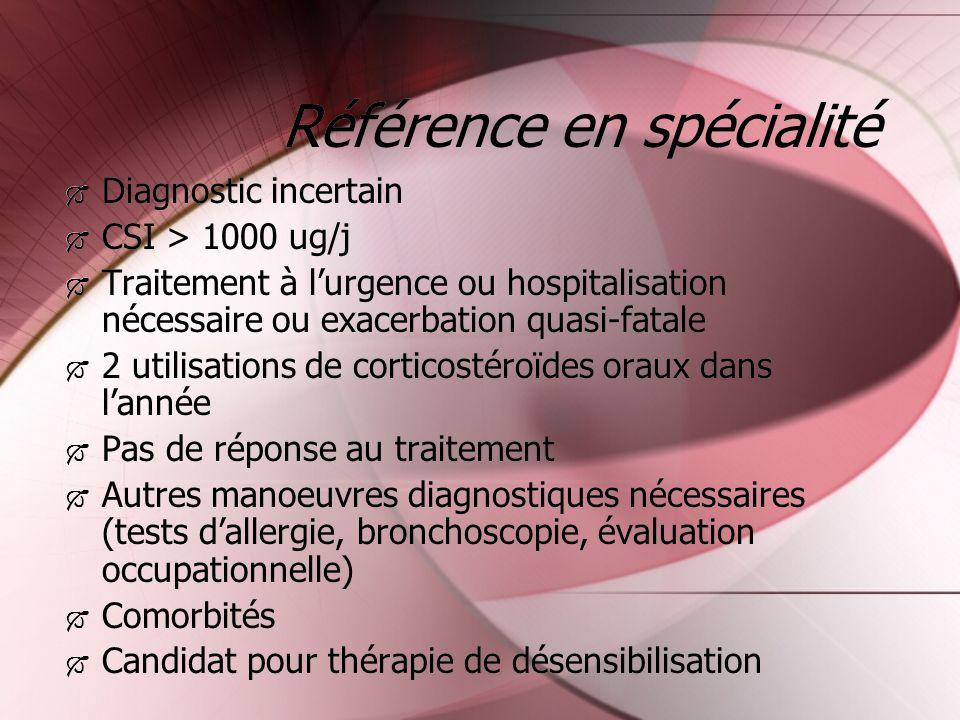 Référence en spécialité Diagnostic incertain CSI > 1000 ug/j Traitement à lurgence ou hospitalisation nécessaire ou exacerbation quasi-fatale 2 utilis