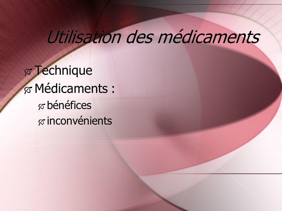 Utilisation des médicaments Technique Médicaments : bénéfices inconvénients Technique Médicaments : bénéfices inconvénients