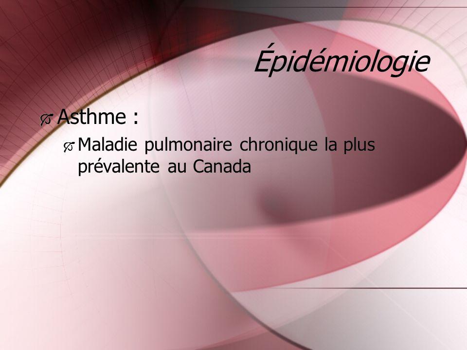 Épidémiologie Asthme : Maladie pulmonaire chronique la plus prévalente au Canada Asthme : Maladie pulmonaire chronique la plus prévalente au Canada