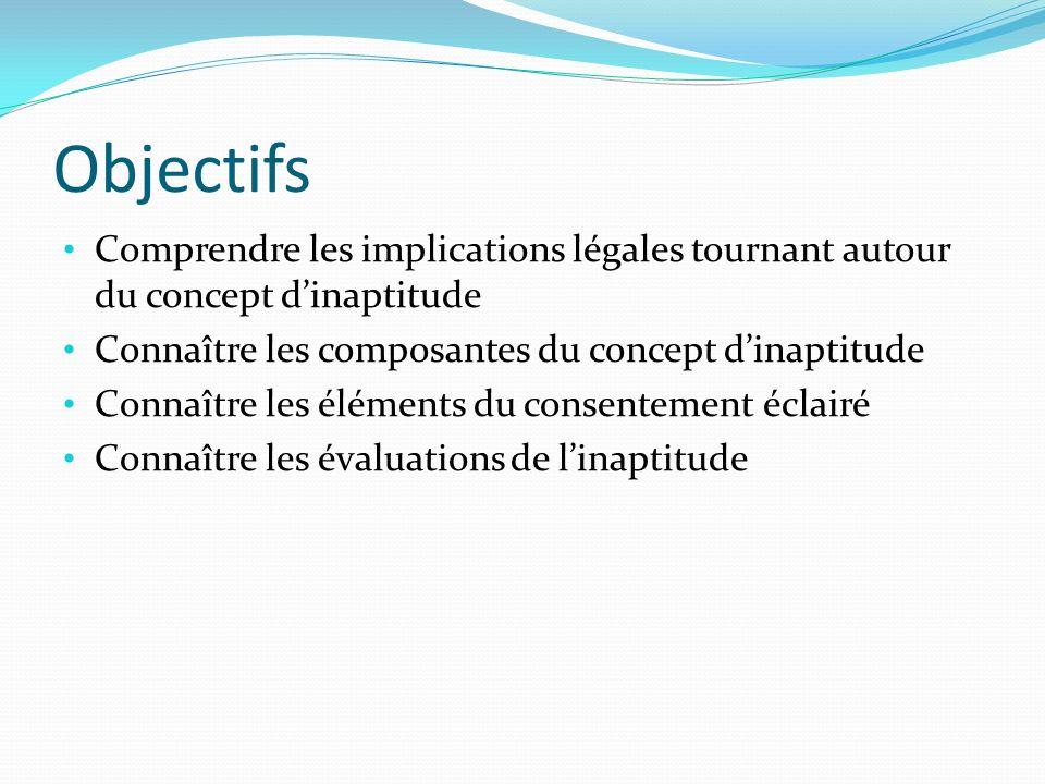 Objectifs Comprendre les implications légales tournant autour du concept dinaptitude Connaître les composantes du concept dinaptitude Connaître les él