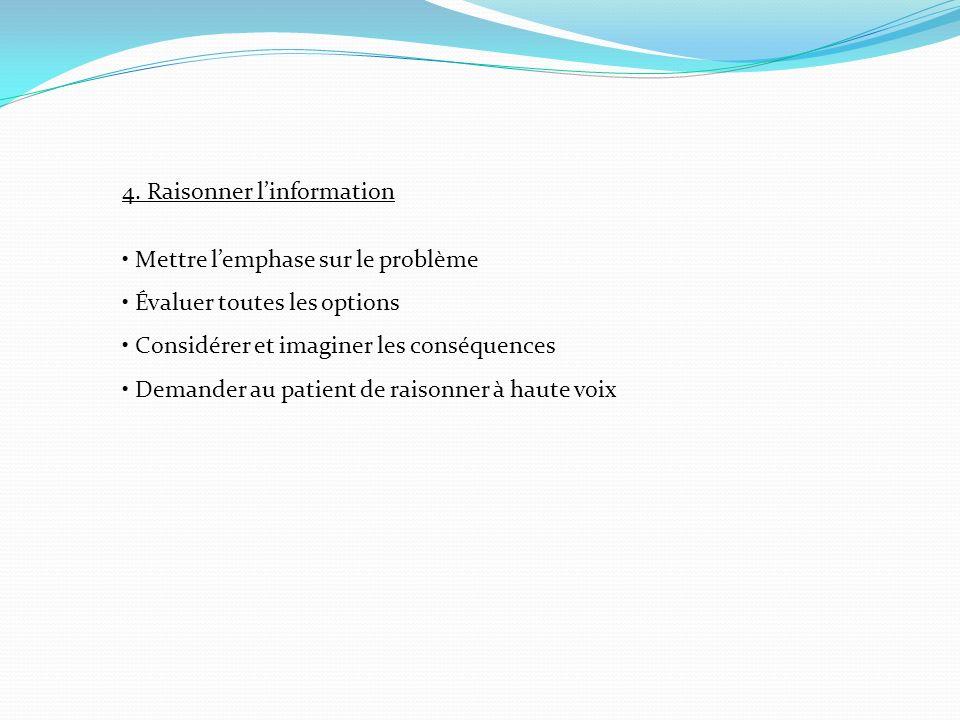 4. Raisonner linformation Mettre lemphase sur le problème Évaluer toutes les options Considérer et imaginer les conséquences Demander au patient de ra