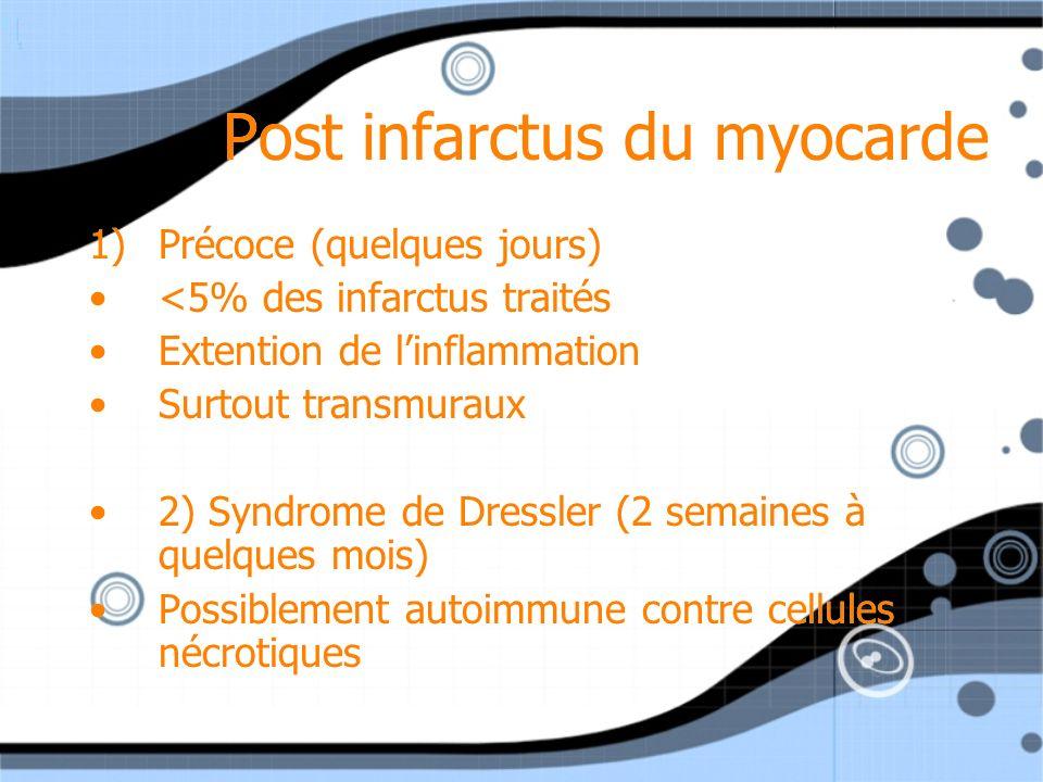 Post infarctus du myocarde 1)Précoce (quelques jours) <5% des infarctus traités Extention de linflammation Surtout transmuraux 2) Syndrome de Dressler