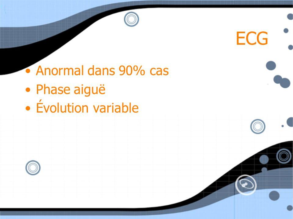 ECG Anormal dans 90% cas Phase aiguë Évolution variable Anormal dans 90% cas Phase aiguë Évolution variable