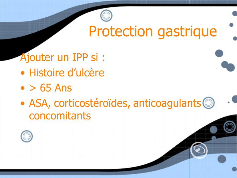 Protection gastrique Ajouter un IPP si : Histoire dulcère > 65 Ans ASA, corticostéroïdes, anticoagulants concomitants Ajouter un IPP si : Histoire dul