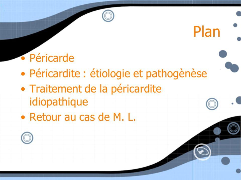Plan Péricarde Péricardite : étiologie et pathogènèse Traitement de la péricardite idiopathique Retour au cas de M. L. Péricarde Péricardite : étiolog