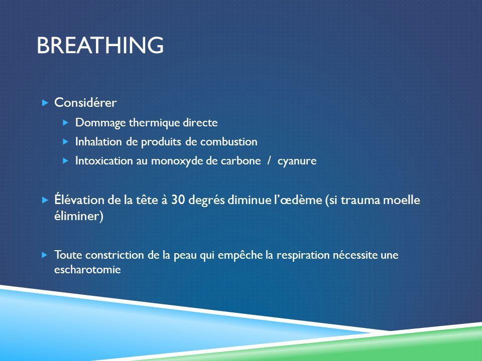 BREATHING Considérer Dommage thermique directe Inhalation de produits de combustion Intoxication au monoxyde de carbone / cyanure Élévation de la tête à 30 degrés diminue lœdème (si trauma moelle éliminer) Toute constriction de la peau qui empêche la respiration nécessite une escharotomie