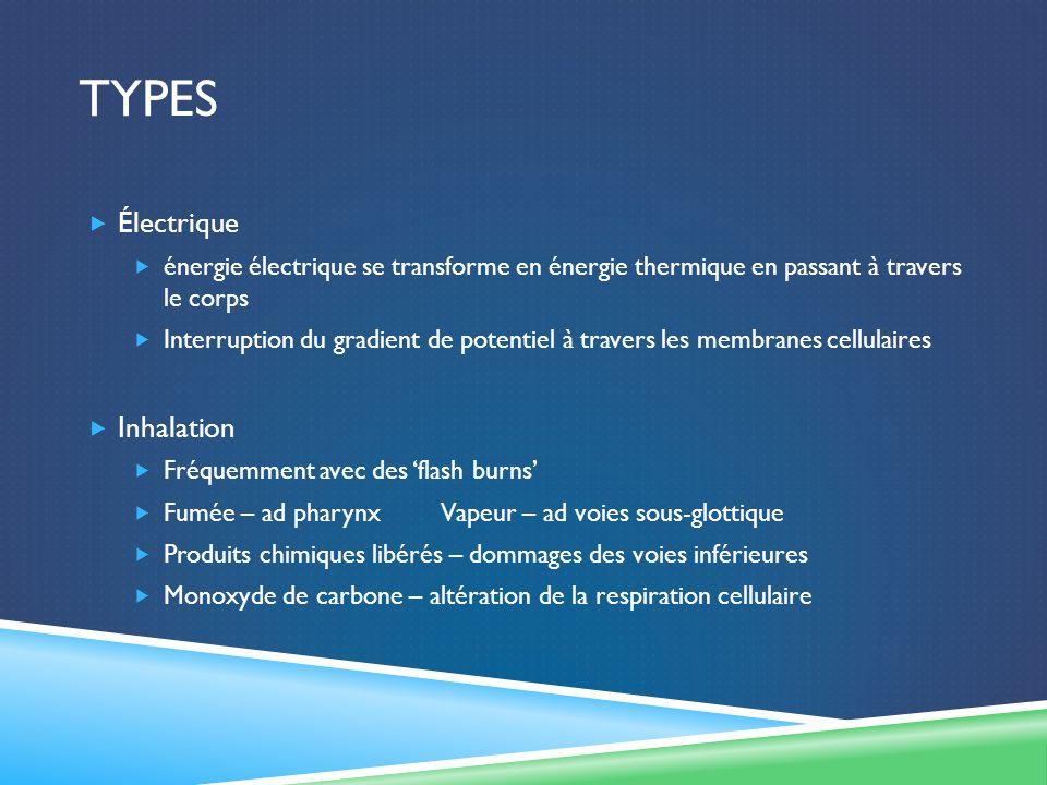 TYPES Électrique énergie électrique se transforme en énergie thermique en passant à travers le corps Interruption du gradient de potentiel à travers l
