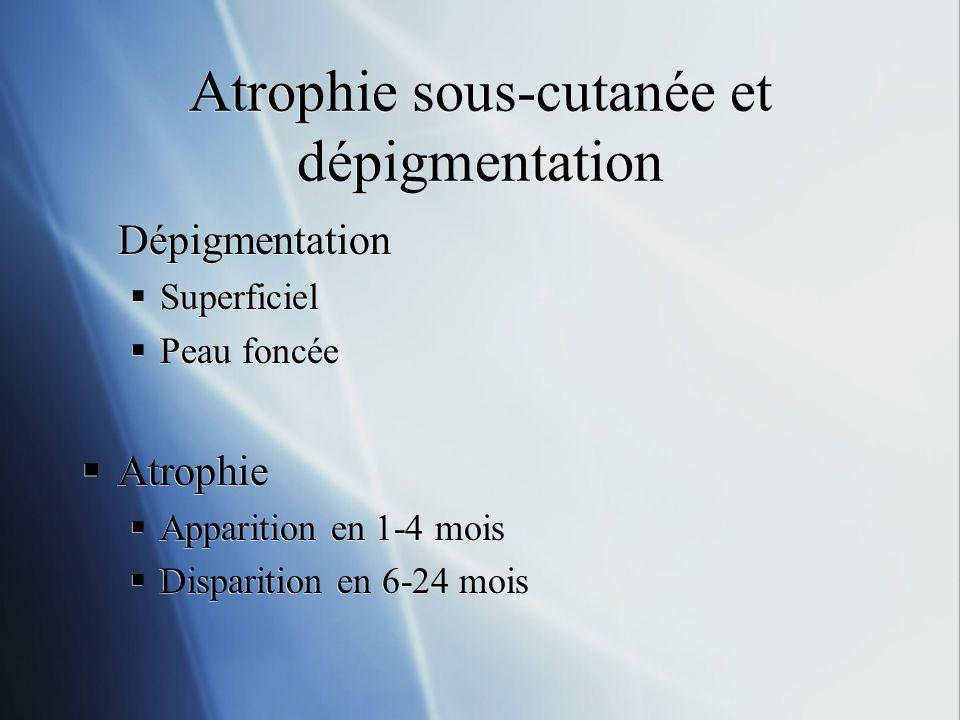 Atrophie sous-cutanée et dépigmentation Dépigmentation Superficiel Peau foncée Atrophie Apparition en 1-4 mois Disparition en 6-24 mois Dépigmentation