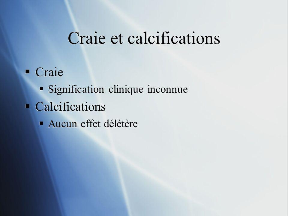 Craie et calcifications Craie Signification clinique inconnue Calcifications Aucun effet délétère Craie Signification clinique inconnue Calcifications