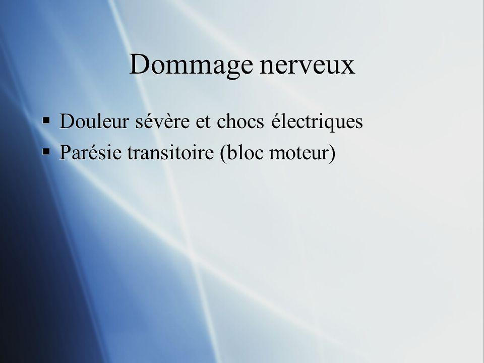 Dommage nerveux Douleur sévère et chocs électriques Parésie transitoire (bloc moteur) Douleur sévère et chocs électriques Parésie transitoire (bloc mo