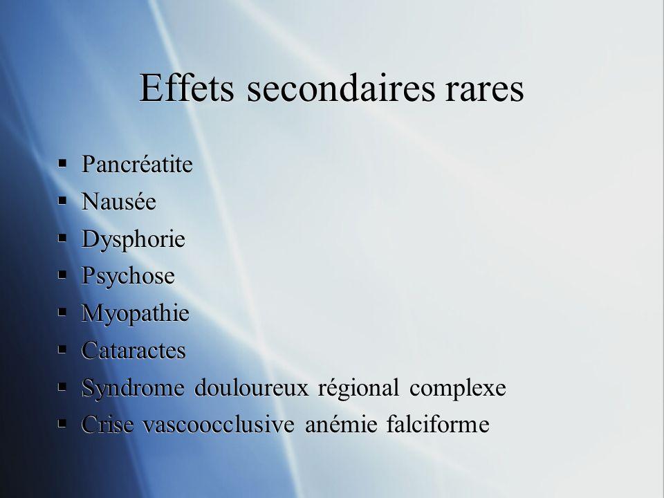 Effets secondaires rares Pancréatite Nausée Dysphorie Psychose Myopathie Cataractes Syndrome douloureux régional complexe Crise vascoocclusive anémie