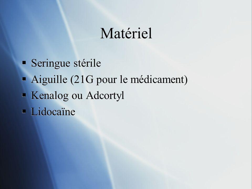 Matériel Seringue stérile Aiguille (21G pour le médicament) Kenalog ou Adcortyl Lidocaïne Seringue stérile Aiguille (21G pour le médicament) Kenalog o