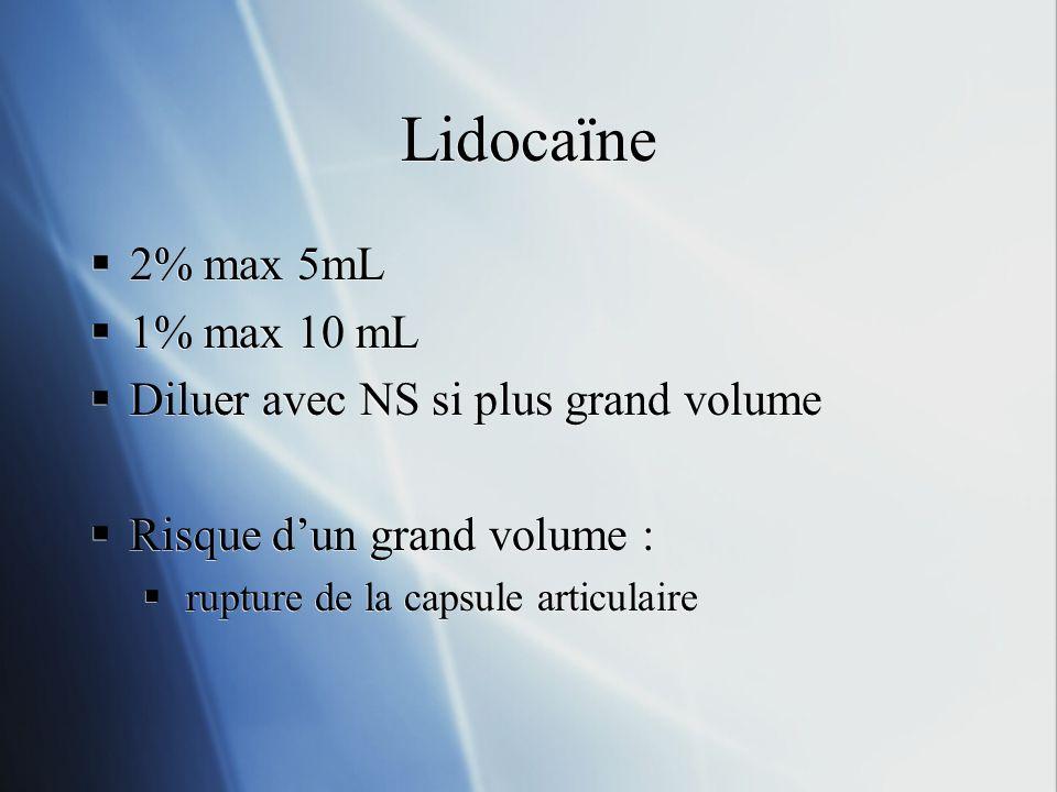 2% max 5mL 1% max 10 mL Diluer avec NS si plus grand volume Risque dun grand volume : rupture de la capsule articulaire 2% max 5mL 1% max 10 mL Diluer