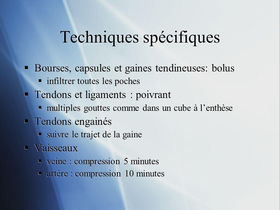 Techniques spécifiques Bourses, capsules et gaines tendineuses: bolus infiltrer toutes les poches Tendons et ligaments : poivrant multiples gouttes co