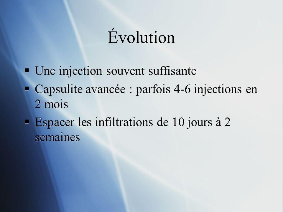 Évolution Une injection souvent suffisante Capsulite avancée : parfois 4-6 injections en 2 mois Espacer les infiltrations de 10 jours à 2 semaines Une