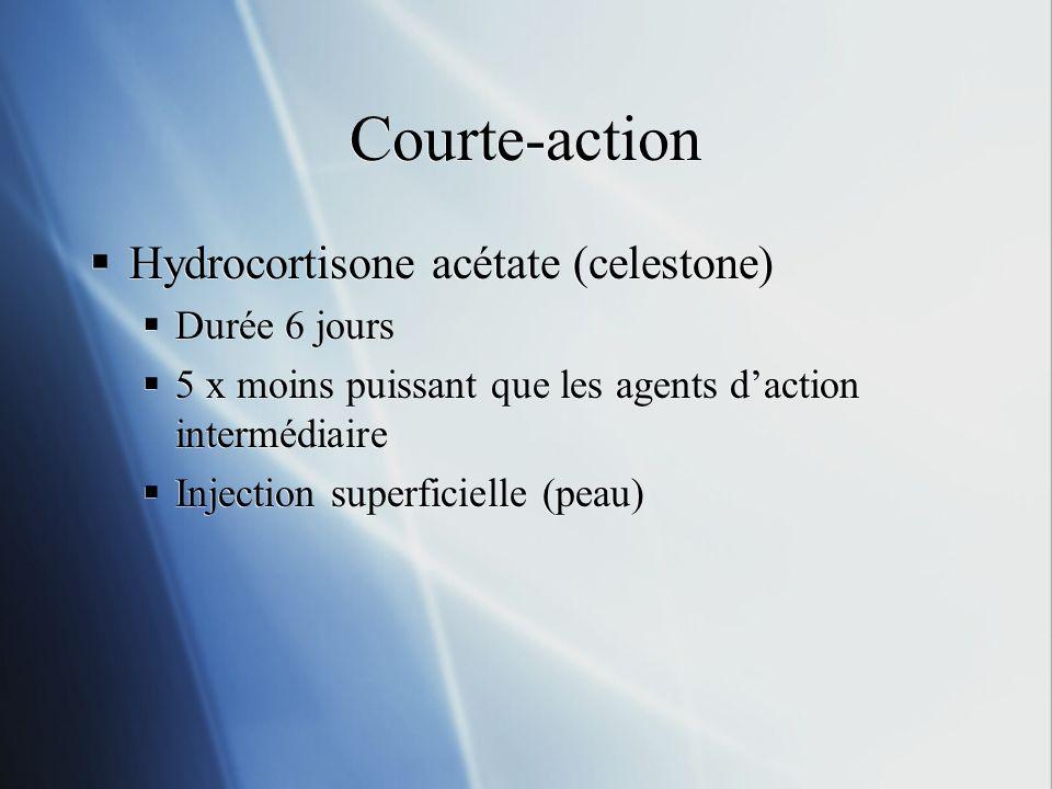 Courte-action Hydrocortisone acétate (celestone) Durée 6 jours 5 x moins puissant que les agents daction intermédiaire Injection superficielle (peau)