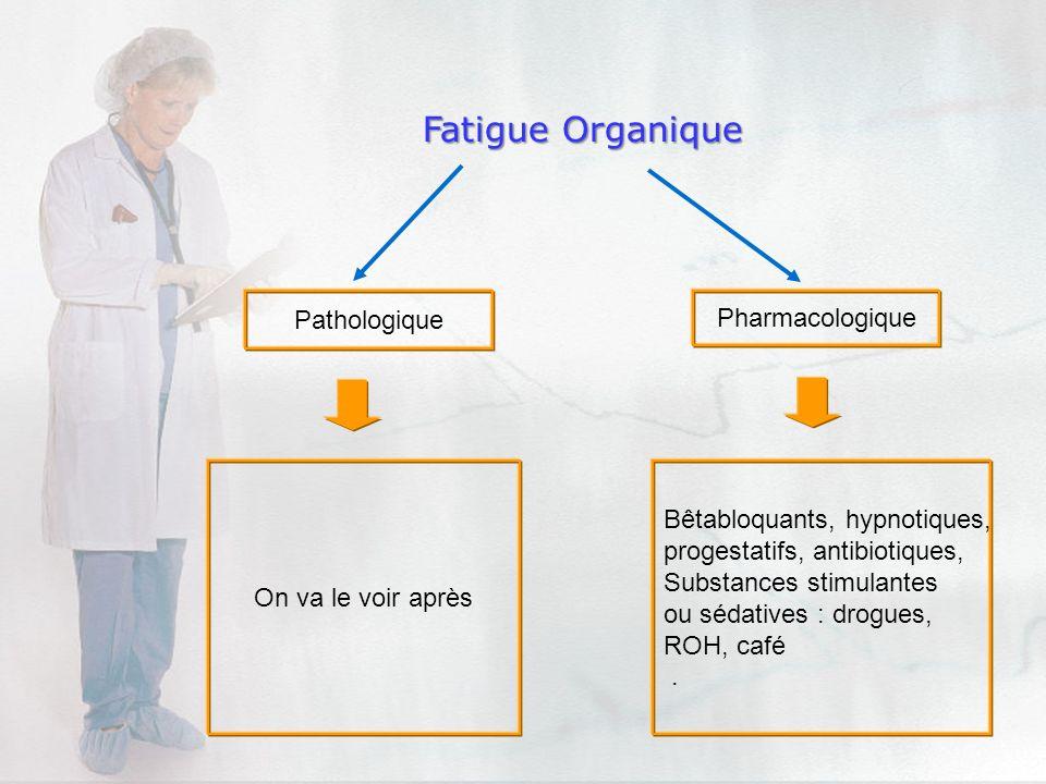 Pathologique Pharmacologique Fatigue Organique On va le voir après Bêtabloquants, hypnotiques, progestatifs, antibiotiques, Substances stimulantes ou
