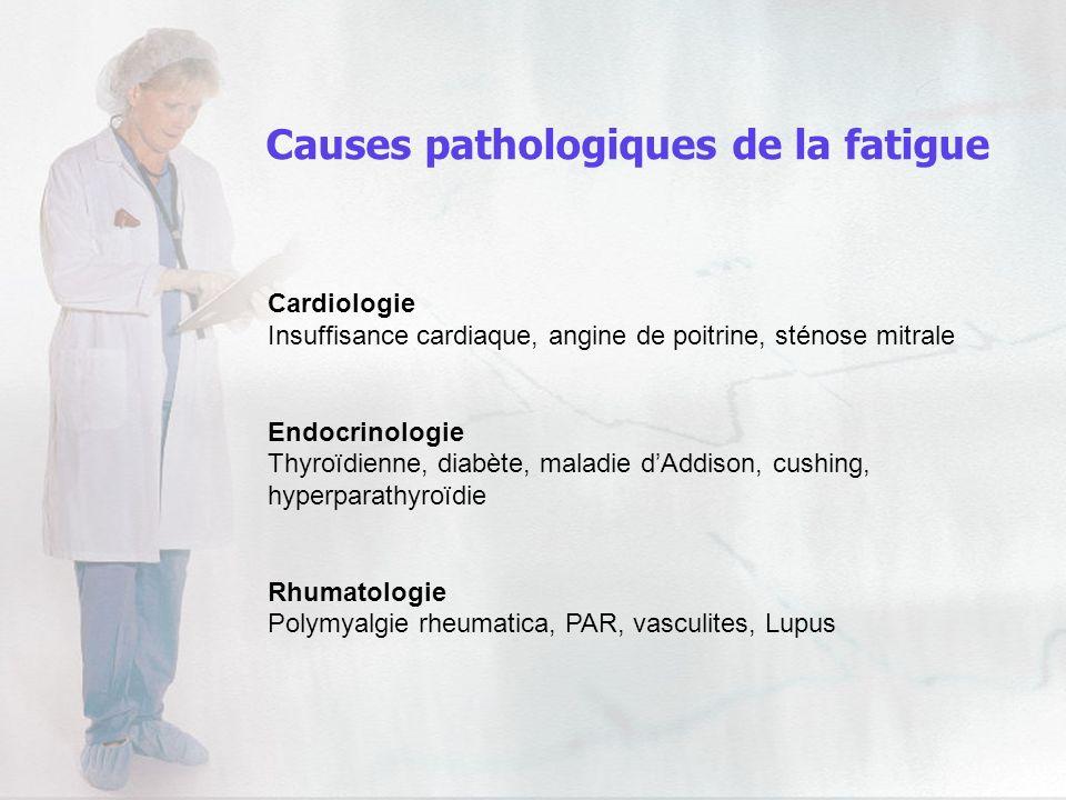 Cardiologie Insuffisance cardiaque, angine de poitrine, sténose mitrale Endocrinologie Thyroïdienne, diabète, maladie dAddison, cushing, hyperparathyr