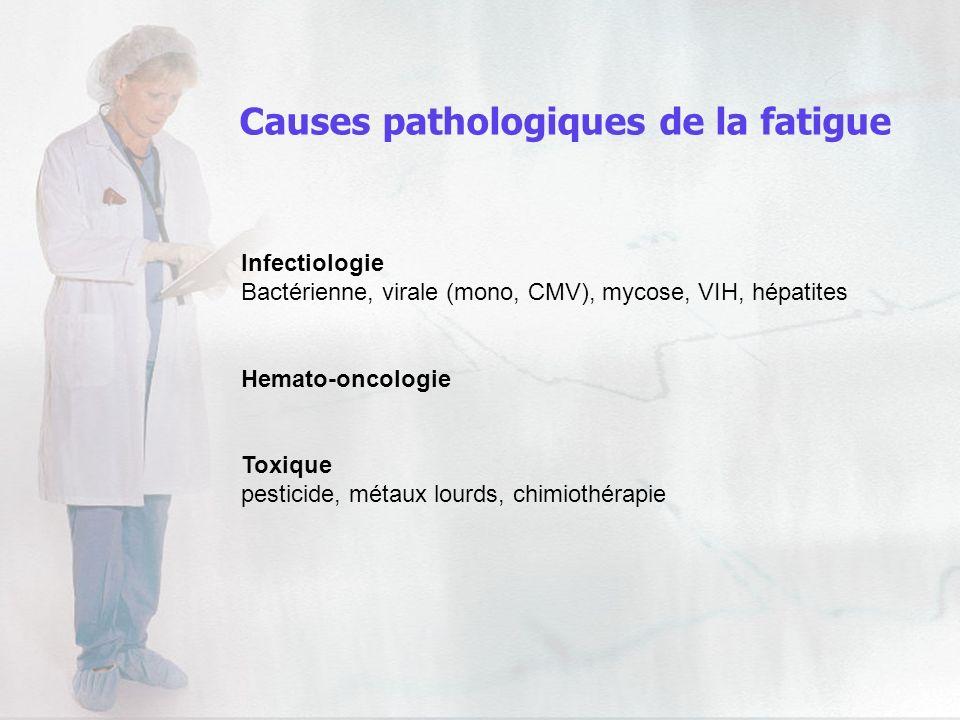 Infectiologie Bactérienne, virale (mono, CMV), mycose, VIH, hépatites Hemato-oncologie Toxique pesticide, métaux lourds, chimiothérapie Causes patholo