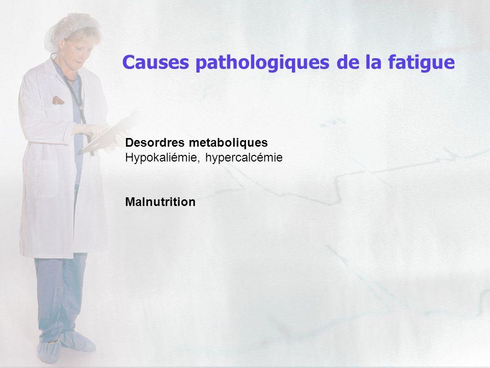 Desordres metaboliques Hypokaliémie, hypercalcémie Malnutrition