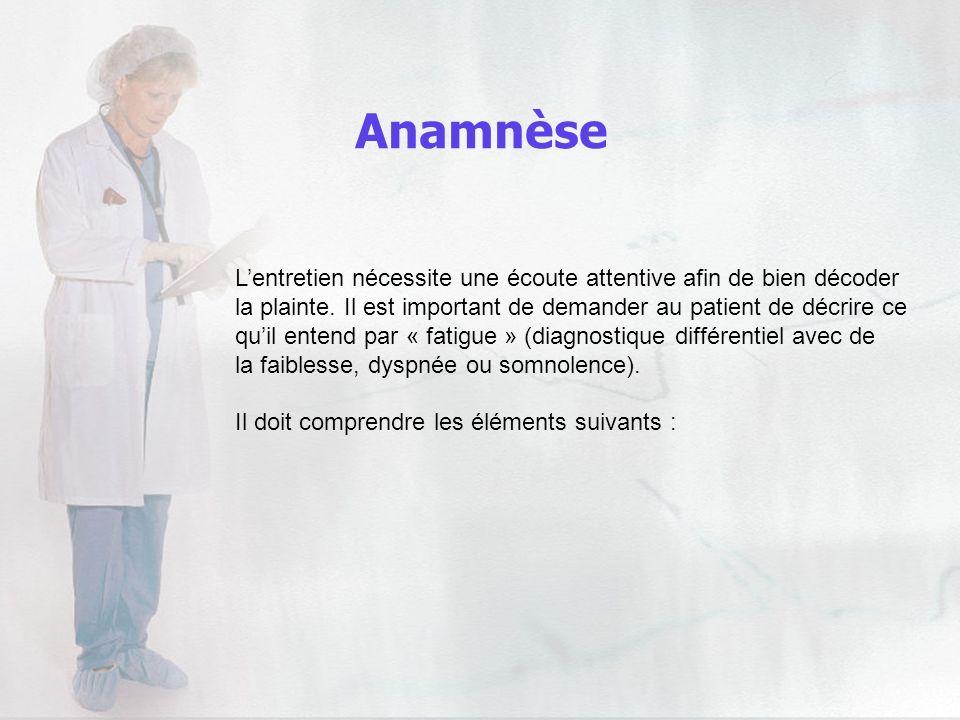 Anamnèse Lentretien nécessite une écoute attentive afin de bien décoder la plainte. Il est important de demander au patient de décrire ce quil entend