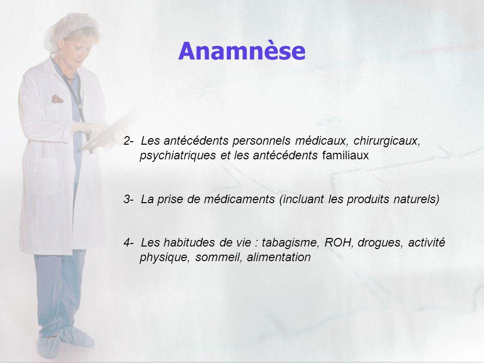 2- Les antécédents personnels médicaux, chirurgicaux, psychiatriques et les antécédents familiaux 3- La prise de médicaments (incluant les produits na