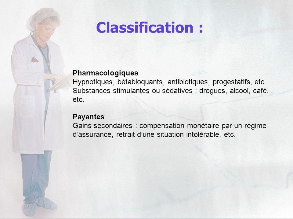 Pharmacologiques Hypnotiques, bêtabloquants, antibiotiques, progestatifs, etc. Substances stimulantes ou sédatives : drogues, alcool, café, etc. Payan